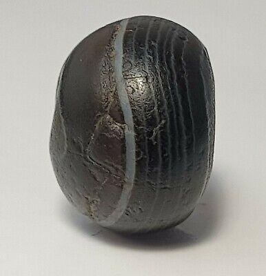 12.3mm ANCIENT RARE INDO-TIBETAN BANDED SULEIMANI BHAISAJYAGURU AGATE BEAD