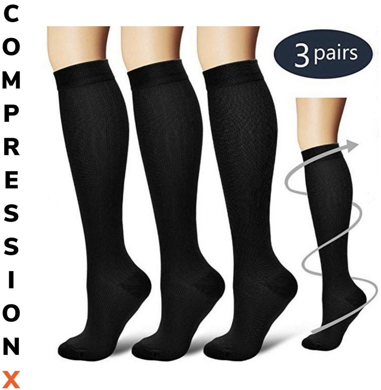 (3 Pairs) S-XXXL Compression X Socks Knee High 20-30mmHg Graduated Mens Womens Health & Beauty