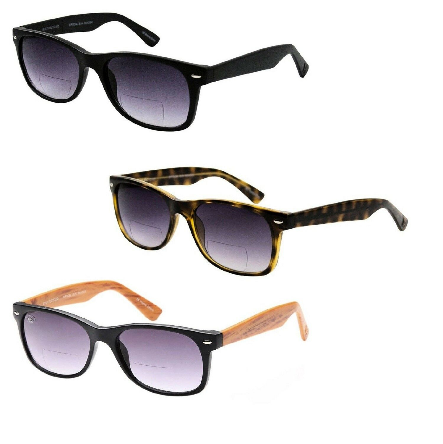 3 PACK Bifocal Sunglasses Readers UV400 Protection Magnifica