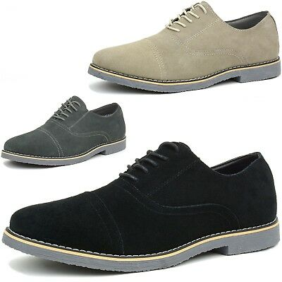 Alpine Swiss Aston Mens Lace Up Oxfords Genuine Suede Cap Toe Formal Dress - Dresses Shoes