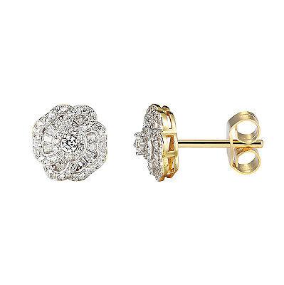 Flower Design Earrings Lab Diamond 14k Gold Finish Sterling Silver -