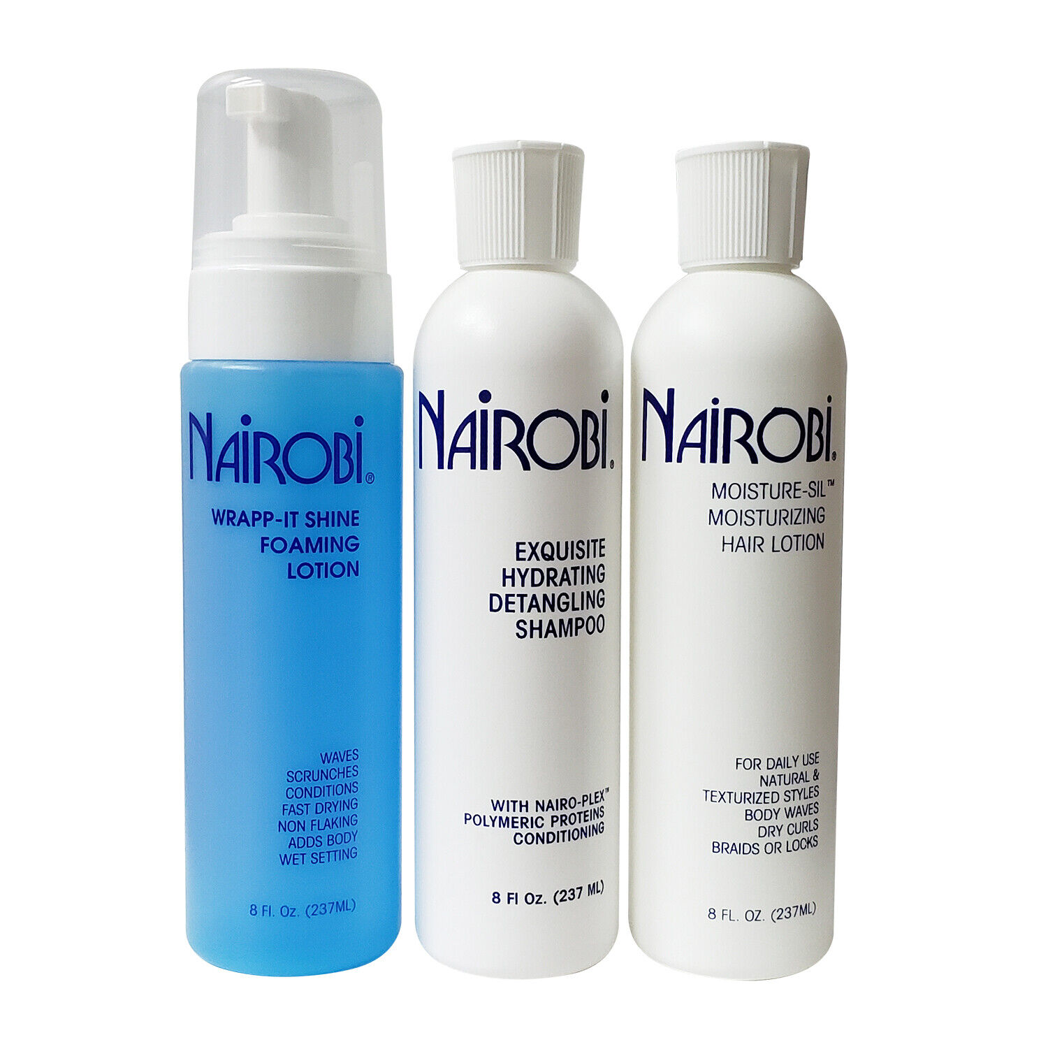 Nairobi Hydrating Shampoo / FoamWrap Lotion / Moisture Sil Hair Lotion 8 Oz. SET Hair Care & Styling