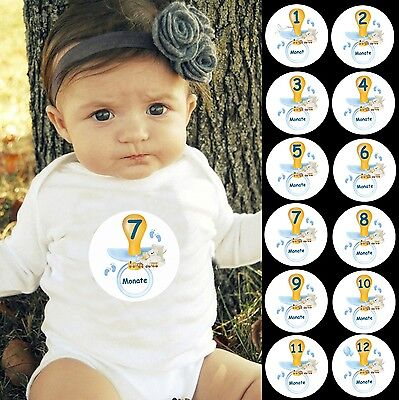 12 Aufkleber Monatliche Baby 1-12 Monate Strampler Body Fotoshooting JUNGE