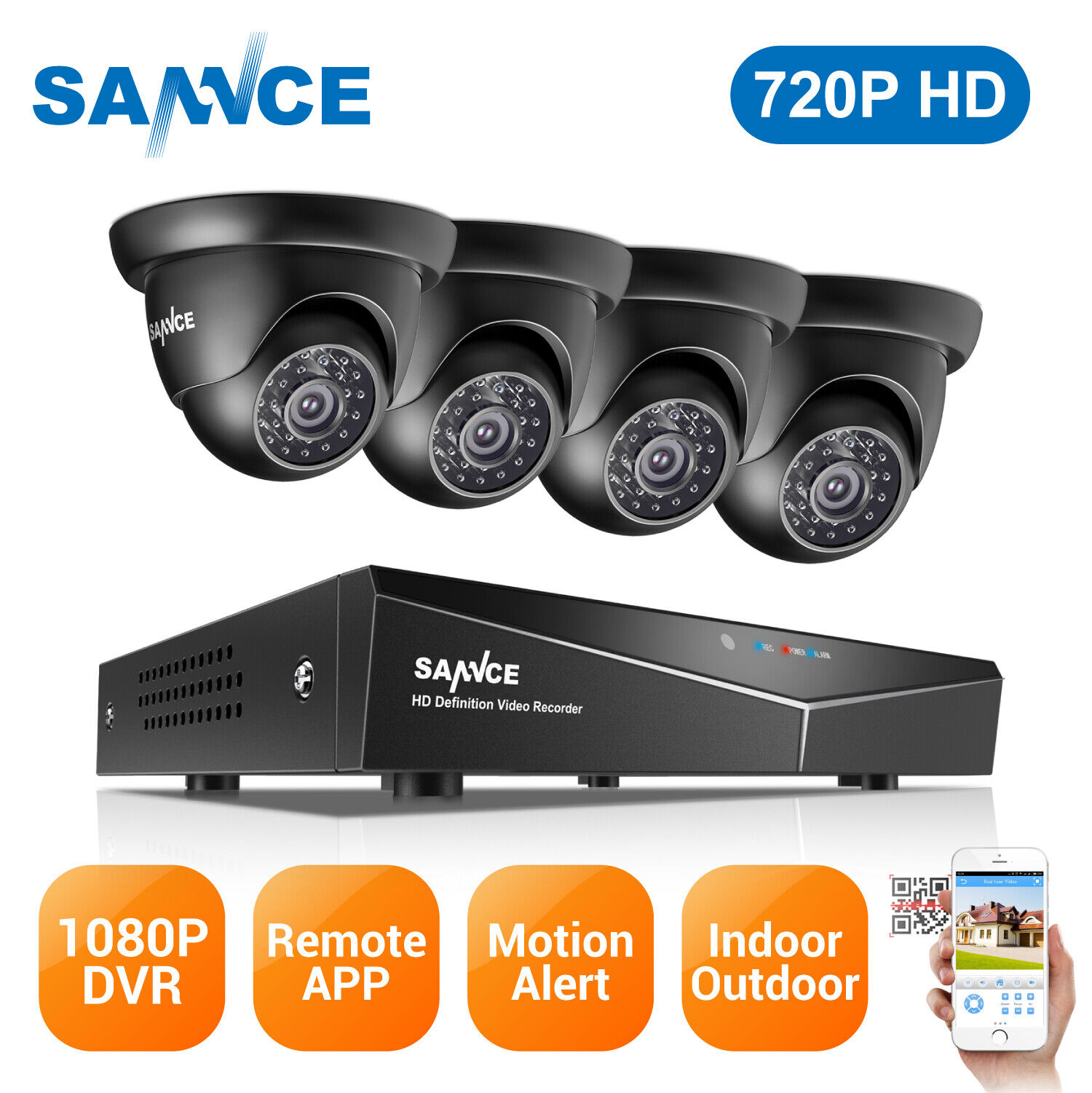 SANNCE HD 720P TVI 1500TVL CCTV IR Night Vision for Home Security Camera System