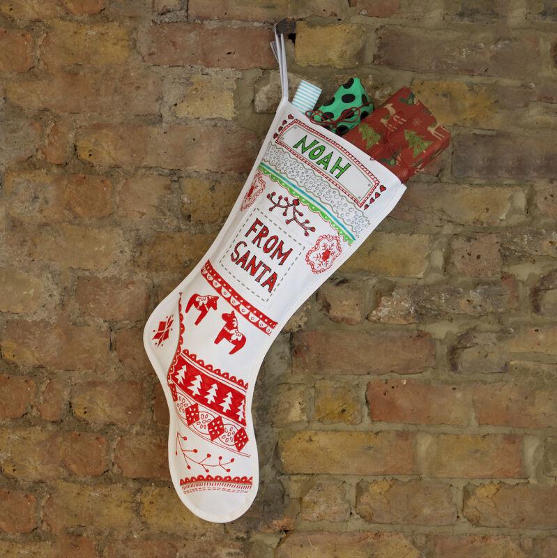 Fabric+Christmas+stocking+%2B+10+fabric+pens.+Xmas+stocking.+Santa+sack+