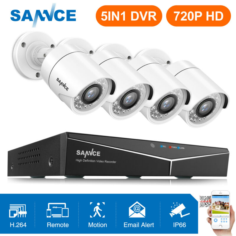 SANNCE 5in1 8CH 1080N DVR 4 720P TVI IR Night Vision Home Security Camera System