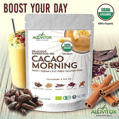 Cacao Quinoa Mesquite Cinnamon Powder Mix  Certified Organic Raw Alovitox  8 Oz