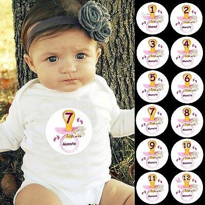 12 Aufkleber Monatliche Baby 1-12 Monate Strampler Body Fotoshooting MÄDCHEN
