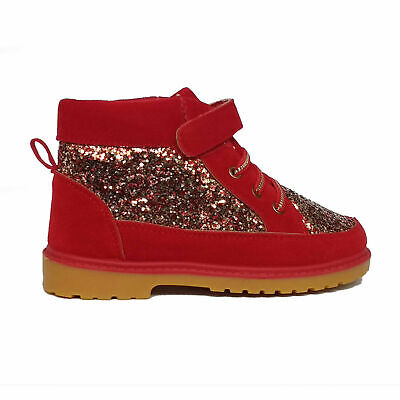 Clearance Kids Faux Suede Sparkly Glitter Boot Red Size 12 ()