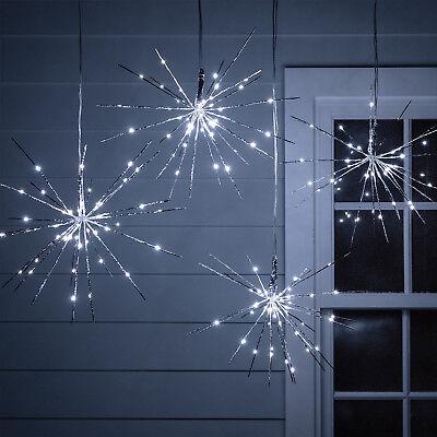Silver Christmas Lights (4 Silver Sparkling Christmas Star Lights White LEDs Outdoor Use 30cm Lights4fun)
