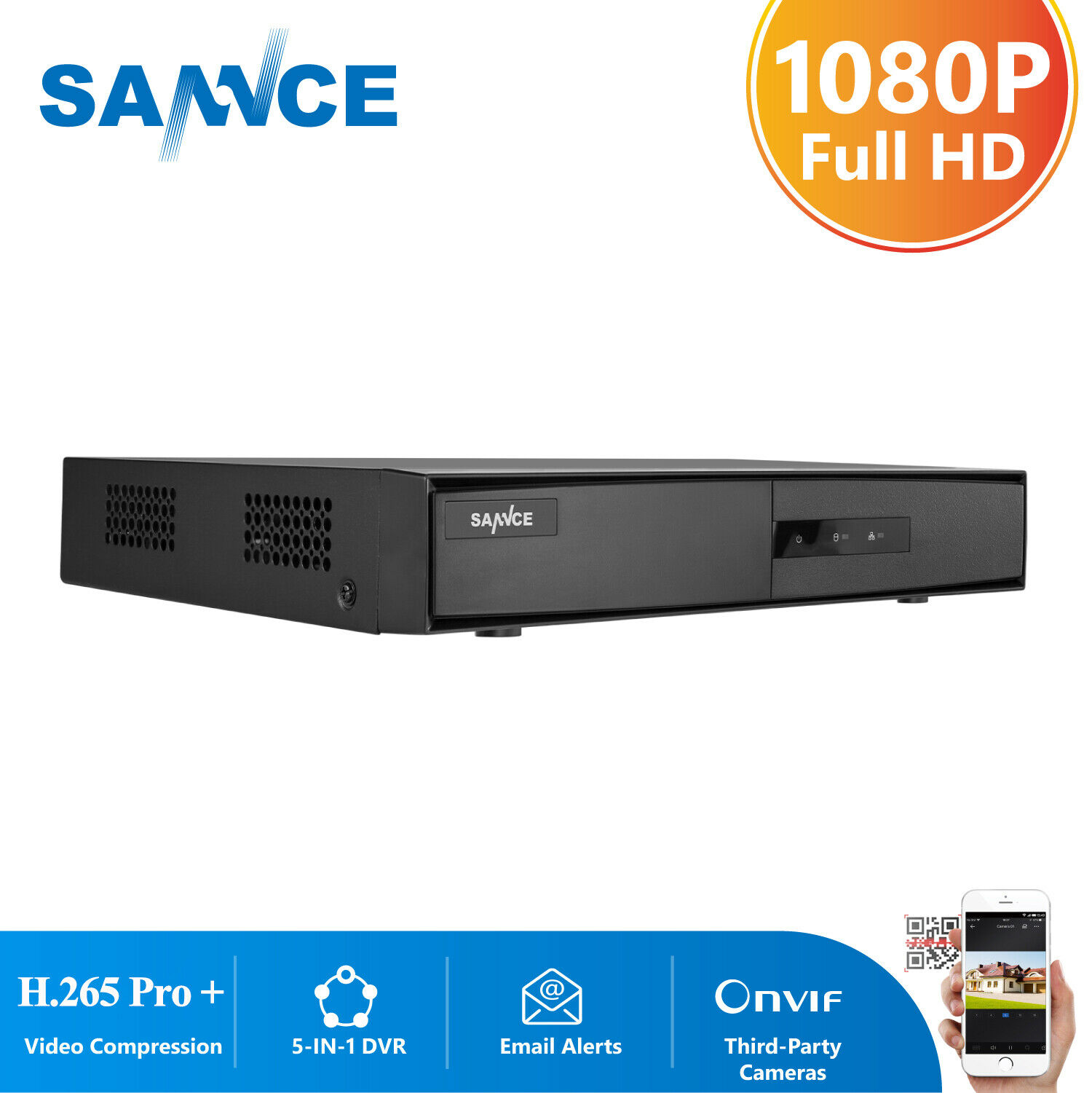 SANNCE 16CH 5in1 1080P HDMI DVR Video Recorder Home Security