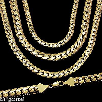 Miami Cuban Link Chain 14k Yellow Gold Plated 5-12 mm Wide 20