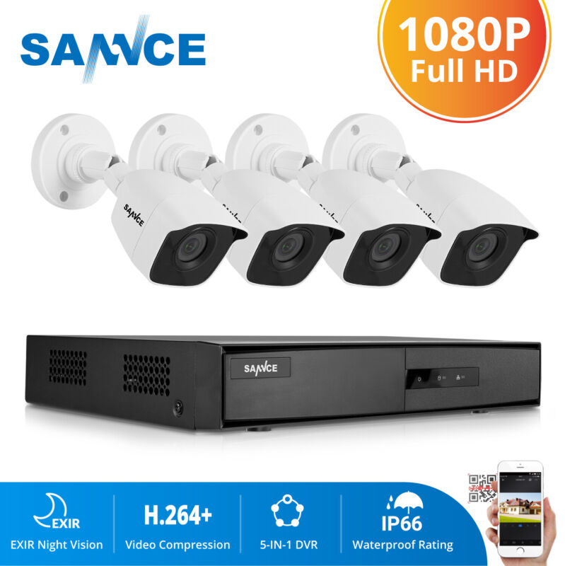 SANNCE H.264+ 4CH DVR Outdoor HD 1080P Video CCTV Security Camera System Onvif