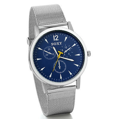 Mens Luxury Silver Tone Mesh Stainless Steel Band Blue Dial Analog Wrist Watch ()