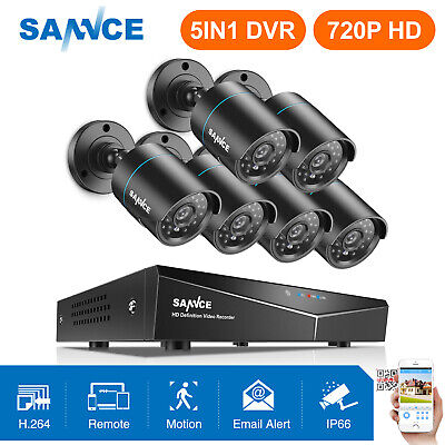 SANNCE 8CH 1080N HDMI DVR 6x 1500TVL IR Outdoor CCTV Home Security Camera System