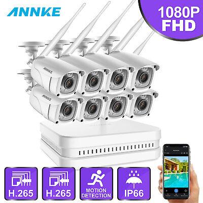 ANNKE 1080P WLAN ÜberwachungsKamera H.265 8CH NVR WIFI Smart Überwachungssysteme