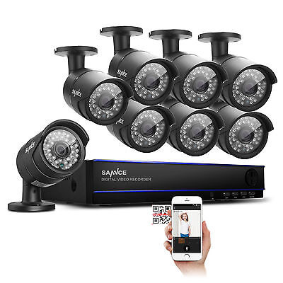 SANNCE 8CH HD 1080P Video DVR 2000TVL 2MP Outdoor IR  Security Camera System P2P