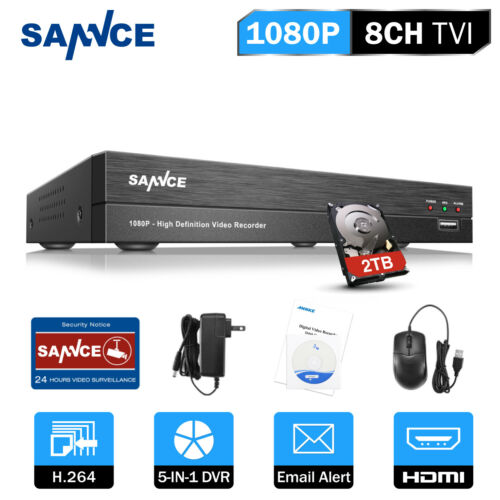 SANNCE 8CH 5IN1 1080P 2MP DVR Digital Video Recorder Home CCTV System APP Remote
