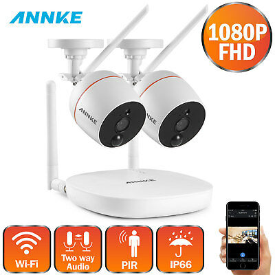 ANNKE1080p 4CH Mini NVR 2x 2MP In/Outdoor Wireless IR Security Camera System APP