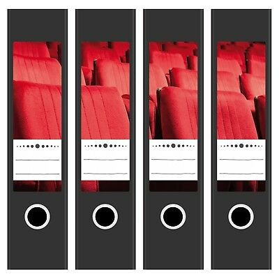 4 x Design Ordnerrücken mit Motiv Kino Sitze Rot für breite Ordner selbstklebend