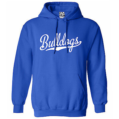 Bulldogs Script & Tail HOODIE - Hooded School Sports Team Sweatshirt  All Colors ()