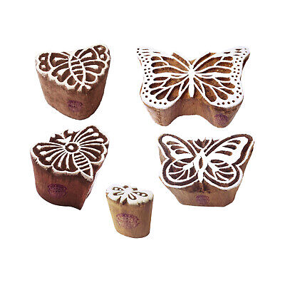 Trendy Motif Assorted And Butterfly Block Print Wood Stamps Set Of 5