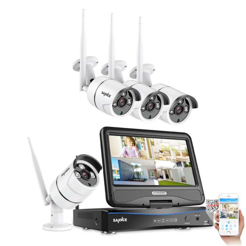 Refurbished SANNCE 1080P Wireless Security Camera System 4CH NVR 10.1