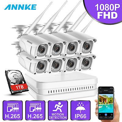 ANNKE 1080P WLAN ÜberwachungsKamera H.265 8CH NVR 1TB Smart Überwachungssysteme