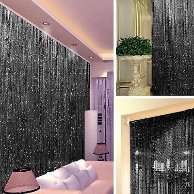 STRING DOOR CURTAIN Crystal Beads Room Divider Black Fringe Wall Window Panel