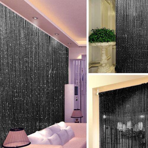 STRING DOOR CURTAIN Crystal Beads Room Divider Black Fringe