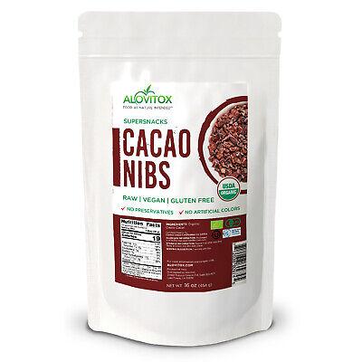 Alovitox Certified Organic Raw Cacao Nibs Unsweetened Gluten Free (16 oz) Raw Cacao Nibs