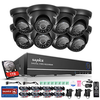 SANNCE 1080N 4in1 8CH DVR 720P In/Outdoor IR Camera Home Security System 1TB APP