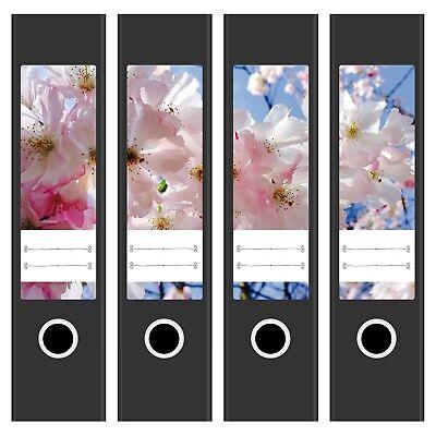 4 x Design Ordnerrücken Etiketten mit Design Motiv Frühling Blüten Sommer /breit