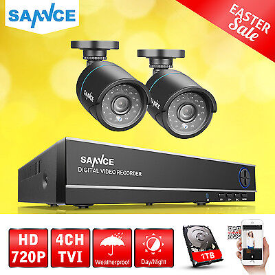 SANNCE 4CH HDMI DVR 2 CCTV IR Outdoor Home Security Camera System 1TB Hard Drive