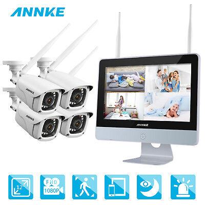 ANNKE 1080P WLAN IP ÜberwachungsKamera Außen Innen Funk NVR mit 12 Zoll Monitor