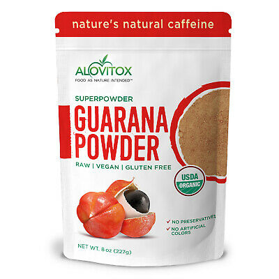 Alovitox Organic Guarana Seed Powder Gluten Free USDA Certified (Pack of 8 oz)