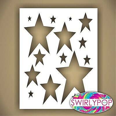 "SWIRLYPOP PRIMITIVE STAR STENCIL CRAFT TEMPLATE 9"" X 12"" AIRBRUSH PATTERN"