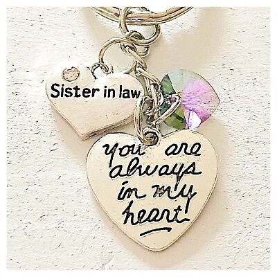 Sister In Law You Are Always In My Heart Keychain Gift Swarovski Love Charm ()