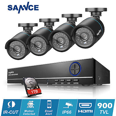 SANNCE 8CH HD Full 960H DVR 4X900TVL IR Outdoor CCTV Security Camera System 1TB