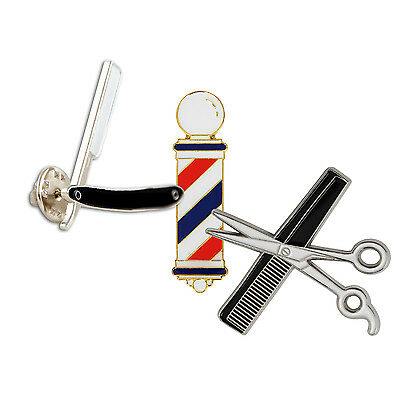 3 Lot MD Barber Lapel Pins Razor Barber Pole Shear & Comb