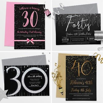 40th Birthday Party Invitations (Personalised Birthday Invitations 30th 40th 50th 21st 18th Party)