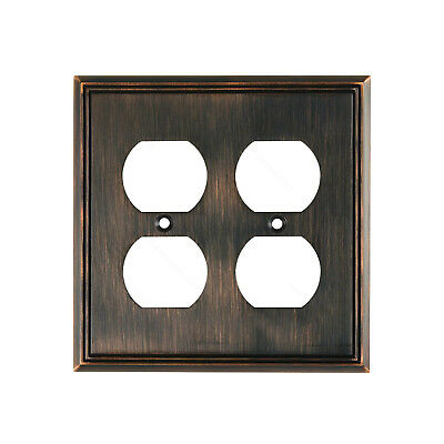 Contemporary Bronze Outlet (Metal Wall Plate Receptacle Outlet Plug Cover Brushed Oil Rubbed Bronze 4)