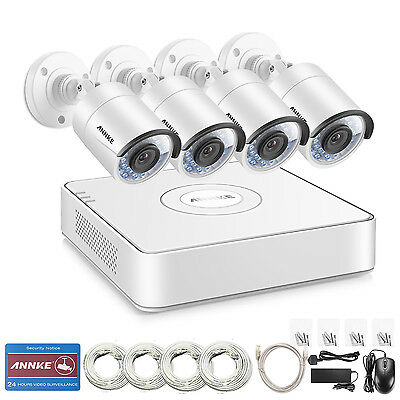 ANNKE 8CH 1080P Überwachungskamera PoE NVR 1.3MP HD Video System 4mm Lens set