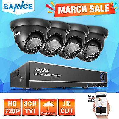SANNCE 8CH 1080N DVR HD 720P Home CCTV Security Camera System Outdoor Night UK