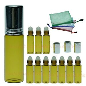 10-x-5ml-Amber-Roll-On-glass-bottles-essential-oil-Aromatherapy