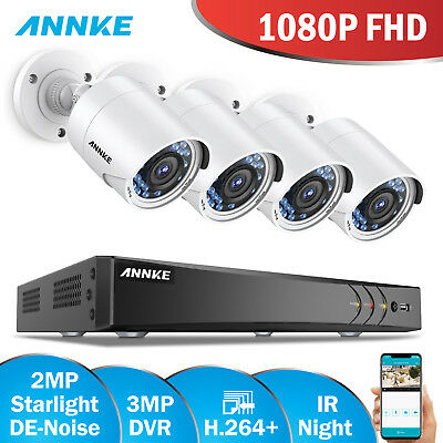 ANNKE 4CH 3MP H.264+ CCTV DVR 1080P Night Vision 3D DNR Security Camera System