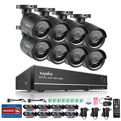 SANNCE HD TVI 720P Camera Security System 8CH DVR 1080N Outdoor 4 Audio In Ports