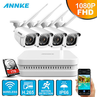 ANNKE H.265 Wireless 8CH 1080P NVR IR Night Vision Security Camera System 1TB