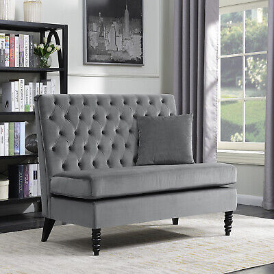Upholstered Bench Sofa Settee Tufted Lounge Chaise Couch Furniture Loveseat Gray