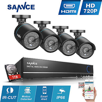 SANNCE 4CH HD DVR Outdoor Night Vision Outdoor CCTV Security Cameras System 1TB